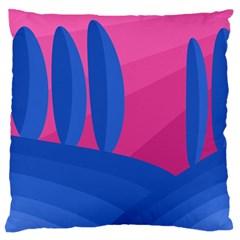 Magenta and blue landscape Large Flano Cushion Case (One Side)