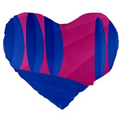 Magenta and blue landscape Large 19  Premium Flano Heart Shape Cushions