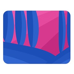 Magenta and blue landscape Double Sided Flano Blanket (Large)