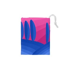 Magenta and blue landscape Drawstring Pouches (XS)