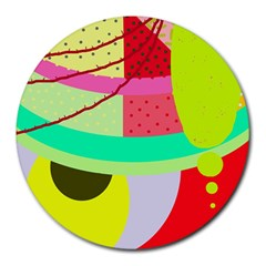 Colorful abstraction by Moma Round Mousepads