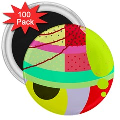 Colorful abstraction by Moma 3  Magnets (100 pack)