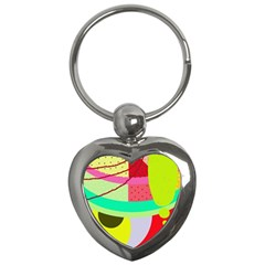 Colorful abstraction by Moma Key Chains (Heart)