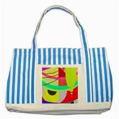 Colorful abstraction by Moma Striped Blue Tote Bag