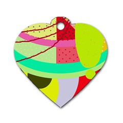 Colorful abstraction by Moma Dog Tag Heart (Two Sides)
