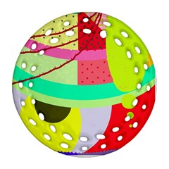 Colorful abstraction by Moma Round Filigree Ornament (2Side)