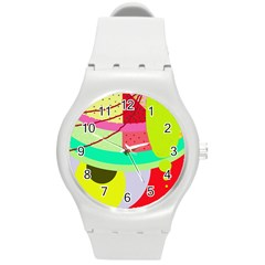 Colorful abstraction by Moma Round Plastic Sport Watch (M)