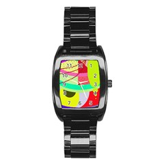 Colorful abstraction by Moma Stainless Steel Barrel Watch