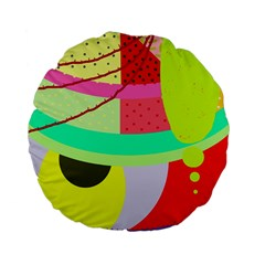 Colorful abstraction by Moma Standard 15  Premium Flano Round Cushions