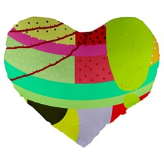 Colorful abstraction by Moma Large 19  Premium Flano Heart Shape Cushions