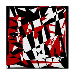 Red, black and white chaos Tile Coasters