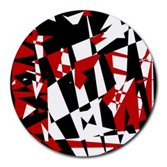 Red, black and white chaos Round Mousepads