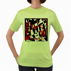 Red, black and white chaos Women s Green T-Shirt