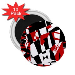 Red, black and white chaos 2.25  Magnets (10 pack)
