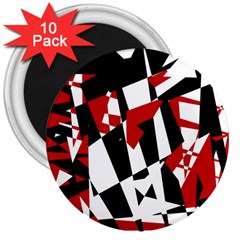Red, black and white chaos 3  Magnets (10 pack)