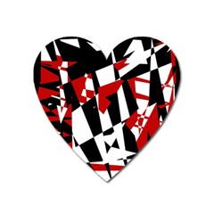 Red, black and white chaos Heart Magnet