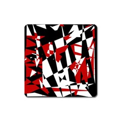 Red, black and white chaos Square Magnet