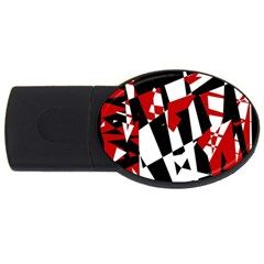 Red, black and white chaos USB Flash Drive Oval (2 GB)