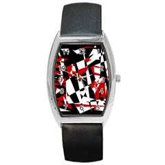 Red, black and white chaos Barrel Style Metal Watch