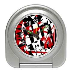 Red, black and white chaos Travel Alarm Clocks