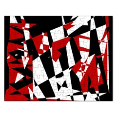 Red, black and white chaos Rectangular Jigsaw Puzzl