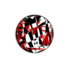 Red, black and white chaos Hat Clip Ball Marker