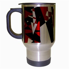 Red, black and white chaos Travel Mug (Silver Gray)