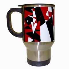 Red, black and white chaos Travel Mugs (White)