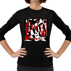 Red, black and white chaos Women s Long Sleeve Dark T-Shirts