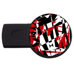 Red, black and white chaos USB Flash Drive Round (4 GB)
