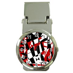 Red, black and white chaos Money Clip Watches