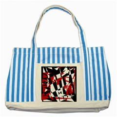 Red, black and white chaos Striped Blue Tote Bag