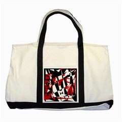 Red, black and white chaos Two Tone Tote Bag