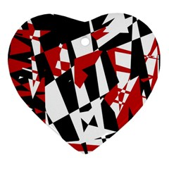 Red, black and white chaos Heart Ornament (2 Sides)