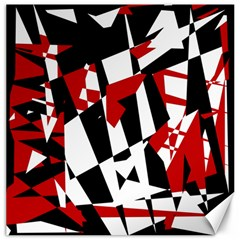 Red, black and white chaos Canvas 20  x 20
