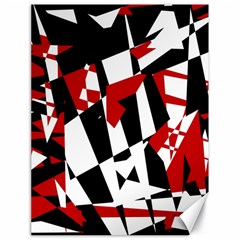 Red, black and white chaos Canvas 18  x 24
