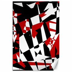 Red, black and white chaos Canvas 24  x 36