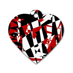 Red, black and white chaos Dog Tag Heart (One Side)
