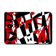 Red, black and white chaos Small Doormat