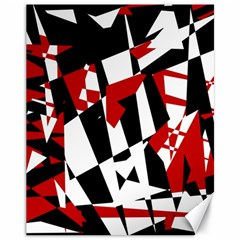 Red, black and white chaos Canvas 11  x 14