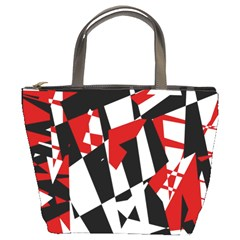Red, black and white chaos Bucket Bags