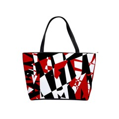 Red, black and white chaos Shoulder Handbags