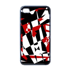 Red, black and white chaos Apple iPhone 4 Case (Black)