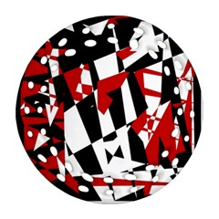 Red, black and white chaos Round Filigree Ornament (2Side)