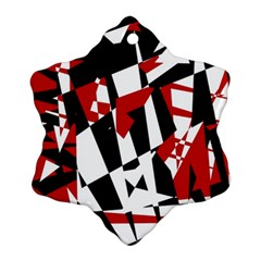 Red, black and white chaos Snowflake Ornament (2-Side)