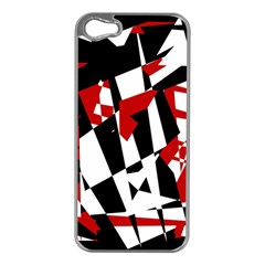 Red, black and white chaos Apple iPhone 5 Case (Silver)