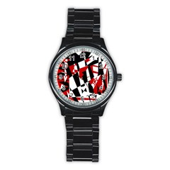 Red, black and white chaos Stainless Steel Round Watch