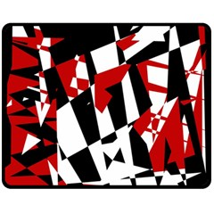 Red, black and white chaos Double Sided Fleece Blanket (Medium)
