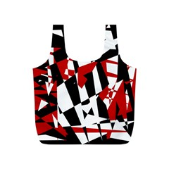 Red, black and white chaos Full Print Recycle Bags (S)