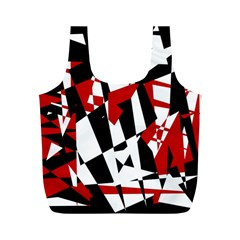 Red, black and white chaos Full Print Recycle Bags (M)